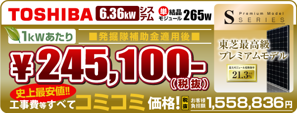 東芝265w 6.36kW